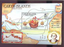 MINT NEVER HINGED SOUVENIR SHEET OF SHIPS   #  124  ( CAICOS ISLANDS - Bateaux