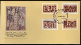 MB 1883) AUSTRALIEN Australia MiNr 811-14 FDC:  Musik Und Tanz Der Eingeborenen - Aboriginal Culture Music And Dance - Musik