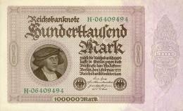 Deutschland, Germany - 100 000 Mark, Reichsbanknote, Ro. 82 A ,  ( Serie H ) UNC, 1923 ! - 1918-1933: Weimarer Republik