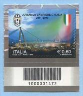 2012 CODICE BARRE 1472 CALCIO JUVENTUS CAMPIONE PROFUMO E. 0,60 PERFETTO NUOVO SPLENDIDO - 6. 1946-.. Repubblica