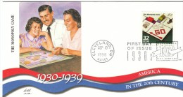 #3185o, Monoply Board Game, 1930s Celebrate The Century FDC 1990s Cover - 1991-2000