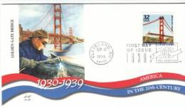 #3185l, Golden Gate Bridge Engineering, 1930s Celebrate The Century FDC 1990s Cover - 1991-2000