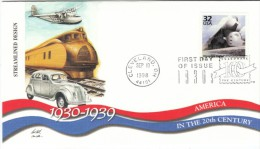 #3185k, Streamline Design Elements In Trains Cars Planes, 1930s Celebrate The Century FDC 1990s Cover - 1991-2000