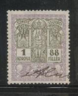 HUNGARY 1914 GENERAL REVENUE 1K88 SAINT STEPHEN WMK CROSS OF LORRAINE BF#361 PERF 12 X 12 - Steuermarken