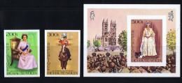HAUTE-VOLTA  1977  25è Ann Couronnement Elizabeth II   Timbres Et Bloc Non Dentelés **  MNH - Haute-Volta (1958-1984)