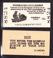 Rhodesia Railway Museum Bulawayo, Single Entry Ticket, 10 Cents - Railway