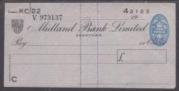 Great Britain, MIDLAND BANK GRANTHAM (Margaret Thatcher´s Hometown)1954, 5 Cheques In Sequence - Bills Of Exchange