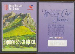 SOUTH AFRICA : 1999 Explore South Africa, 10 X Airmail Post Card Stamps, Booklet, Complete MNH ** - Unused Stamps