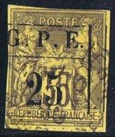 GUADELOUPE  1884  Groupe 35 C. Surchargé G.P.E. 25 C. Cadre Rectiligne Yv 2  Signé L. Miro - Oblitérés