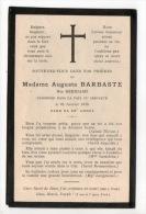 SOUVENEZ-VOUS DE MADAME AUGUSTA BARBASTE NÉE BERNIARD ENDORMI DANS LA PAIX DU SEIGNEUR LE 23/01/1915 - Réf. N°6212 - - Décès