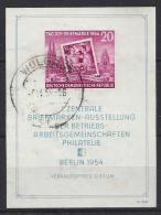 Germany (DDR) 1954  Tag Der Briefmarke  (o) Mi.445 B (block 10) - DDR