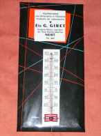 NIORT  1950  ETS G GIRET   METIER BOULANGER THERMOMETRE PUBLICITAIRE DIM  10X19  CM - Cake & Candy