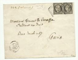 Paire Du N° 3f, 20 C Gris, Sur Lettre De Bastia Pour Paris Du 25 Janvier 1850 Avec Certificat Calvès - 1849-1850 Ceres