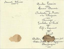 MENU AVANT GUERRE VINS Chablis Chateau Bellevue 1908 - Menus