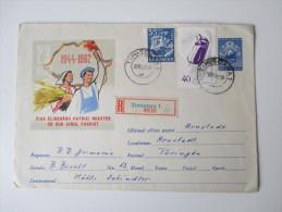 Ganzsachenumschlag 1962 MiF. R-Brief. Timisoara 1 - Arnstadt Thüringen. Bildumschlag - 1948-.... Républiques