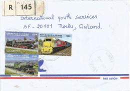 Guinee Guinea 2000 Kindia Steam Train Germany New Zealand UK 750 FG Registered Cover - Guinee (1958-...)