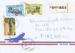 Guinee Guinea 2000 Conakry Aeroport Train UK 300 FG Fischer Switerland Pilain France Old Cars Registered Cover - Guinee (1958-...)