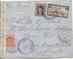 Egypt Air Mail Cover Alexandria 1942 Censored To England Central Fold PR672 - Ägypten