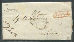 1851 RARISSIMA PREFILATELICA  DA FOGGIA OVALE  ROSSO   X  LESINA INTERESSANTE IL SUO TESTO - 1. ...-1850 Prefilatelia