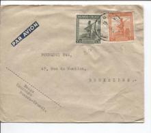 Ruanda-Urundi TP 140-141 S/L.Avion C.Usumbura 22/11/1945 V.Bruxelles PR679 - 1924-44: Lettres