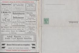 Allemagne 1907. Carte-lettre Annonces De Pforzheim. Cuisine Végétarienne, Dentiste, Opérettes, Vélos, Bière, Soie... - Musique