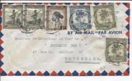 Belgisch Congo Belge TP 249(2)-253-257-262(2) S/L.Avion C.Lisala 25/11/46 V.Bruxelles PR681