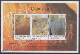Azerbaidjan - Azerbaijan - Azerbaycan 1998 Yvert BF 40, Rupestrian Cave Paintings, Overprinted Israel 98 - MNH - Azerbaïjan