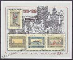 Azerbaidjan - Azerbaijan - Azerbaycan 1999 Yvert BF 45, 80th Ann. First Stamp - MNH - Azerbaïjan