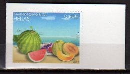 2014 Greece - Fruits - Melon/ Water Melon -1v From Booklet S.adhesive - MNH** - Fruit