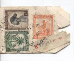 Belgisch Congo Belge TP 254-237-243 S/Echantillon Sans Valeur Recommandé C.Tenke En 1945 V.Solre-s/Sambre PR695
