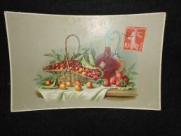Fruits : Cerises . Fraises . Belle Carafe De Vin. M & L . Série 104. - Cartes Postales