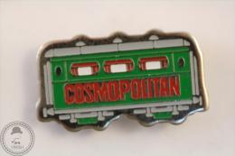 France Advertising Tram/ Tramway Cosmopolitan Magazine Green Colour - Pin Badge #PLS - Transportes