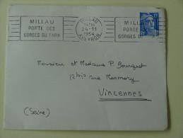 15 Fr Marianne Sur Enveloppe Millau  Aveyron  Vignettes Anti Tuberculeuses  Pub Dentifrice Gibbs 1954 - Marcophilie (Lettres)