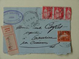 50c Type Paix X 3 Et 25 C Semeuse  Sur Lettre Recommandee  Camares Sur Dourdon Aveyron 1933 Pour Cenomes - Marcophilie (Lettres)