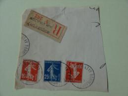10c Et 25 C Semeuse Sur Recommande Roquefort Sur Soulzon 1918 - 1921-1960: Periodo Moderno
