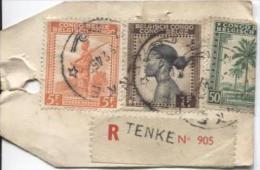 Belgisch Congo Belge TP 254-237-263 S/Echantillon Sans Valeur Recommandé C.Tenke En 1945 V.Solre-s/Sambre PR702