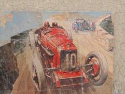 X CARS AT THE TARGA FLORIO DECOLLAGE SU TAVOLA DIM. 43 X 32 CARS AUTOMOBILI RACE - Altri