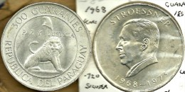 PARAGUAY 300 GUARANI LION EMBLEM FRONT MAN  BACK 1 YEAR 1973 SILVER KM29 READ DESCRIPTION CAREFULLY !!! - Paraguay