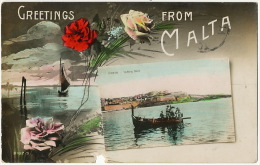 Greetings From Malta Fishing Boat Defect Hole At The Bottom - Malte
