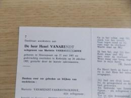 Doodsprentje Henri Vanarendt Nieuwpoort 17/5/1907 Koksijde 24/10/1985 ( Mariette Vanbavinckhove  ) - Religión & Esoterismo