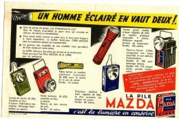 BUVARD BUVARDS PILE MAZDA UN HOMME ECLAIRE EN VAUT DEUX TORCHE LAMPE CIPEL ARGENTEUIL - Piles