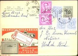 Publibel Entier 1fr50, Bijfrankering O.a. Boudewijn Bril 3fr X 2 - Reco GEETBETS 1960. - Cartoline [1951-..]