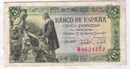 BILLETE DE 5 PESETAS DE 1945 - EXCELENTE - [ 3] 1936-1975 : Régence De Franco