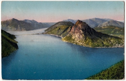 LAGO DI LUGANO - S. SALVATORE E DIGA DI MELIDE - Vedi Retro - Formato Piccolo - TI Ticino
