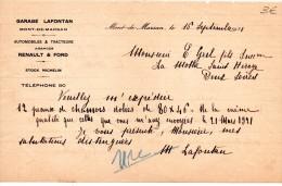 FACTURES, GARAGE LAFONTAN, AUTOMOBILES & TRACTEURS, Mont-de-Marsan, Le 16 Septembre 1921, (fr : 1.40) - Cars