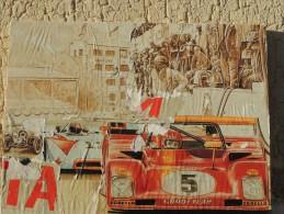 X DUEL FERRARI 312 PORSCHE 908 BOX TARGA FLORIO DECOLLAGE SU TAVOLA 40X30 RACE - Altri
