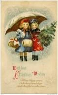 ENFANTS- Gaufrée, Relief - Christmas - 2 Petites Filles Sous Parapluie - Szenen & Landschaften