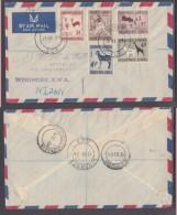 SOUTH WEST AFRICA 1957 FDC Defins To 4 1/2d, Registered Air WINDHOEK, KLERKSDORP, HARTBEESFONTEIN - Zuidwest-Afrika (1923-1990)