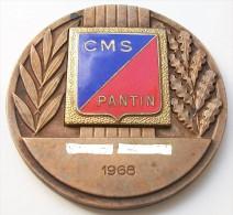 SPORT -  Insigne CERCLE MUNICIPAL DES SPORTS DE PANTIN EN ÉMAIL  Sur Médaille De Table En Bronze 1968 - Insignes & Rubans
