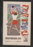 POLAND 1951 SPARTARKIADA SPORTS CHAMPIONSHIPS TYPE 1 VOLLEYBALL Flags - Poland
